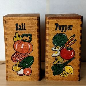 Vintage Wooden Salt and Pepper Shakers 5""